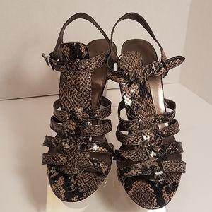 """Nine West 5""""heel, 9M, open toe faux snake sandal"""